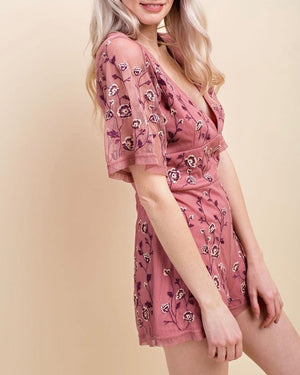 Honey Belle - V-Neck Floral Embroidered Short Sleeve Romper in Mauve