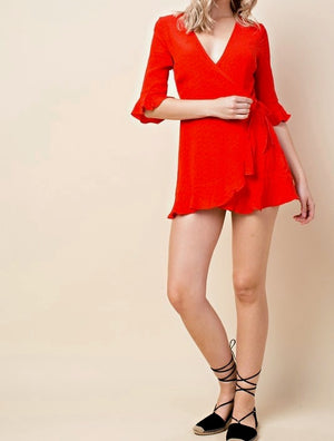 Final Sale - Honey Belle - The Only One Wrap Mini Dress - Red