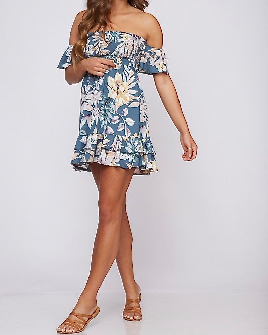 Final Sale - Off The Shoulder Smocked Floral Print Mini Dress