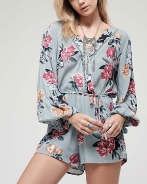 Final Sale - Blu Pepper Floral Print Romper - Sage