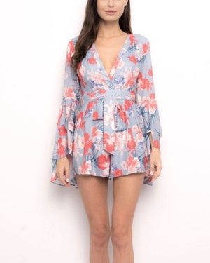 On The Double Floral Romper in Blue