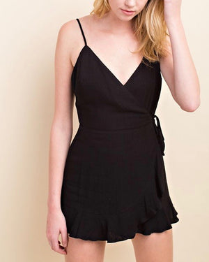 Honey Belle - Soft Rayon Wrap Romper Dress in Black