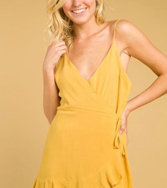 Honey Belle - Soft Rayon Wrap Dress in Gold