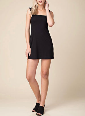 wild honey - ruched strapped bodycon mini dress - black