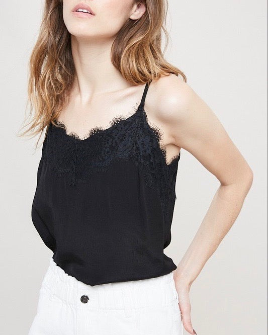Spaghetti Strap Lace Detailed Camisole in Black