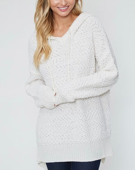 Boxy Fuzzy Long Sleeve Knit Hoodie in Ivory