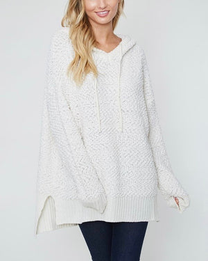 boxy fuzzy long sleeve knit hoodie - ivory