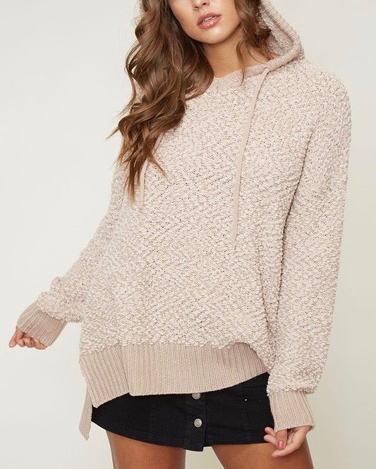 Boxy Fuzzy Long Sleeve Knit Hoodie in Taupe
