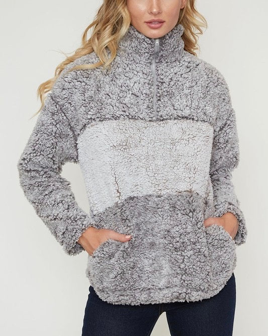 Final Sale - Colorblock Two Tone Sherpa Half-Zip Pullover - Grey/Mocha