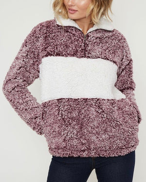 Colorblock Two Tone Sherpa Half-Zip Pullover - Burgundy