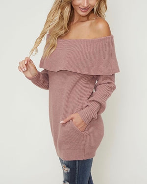 essential off-the-shoulder ribbed knit sweater with pockets - mauve