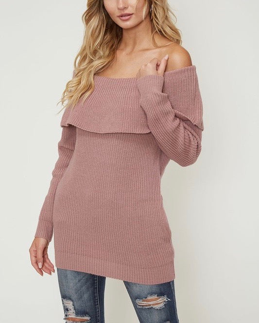 Essential Off The Shoulder Ribbed Knit Sweater with Pockets in Mauve