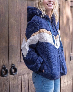chevron sherpa puffy zip up jacket - NAVY