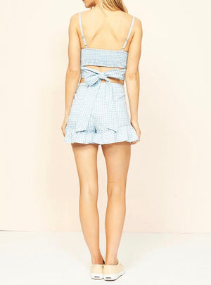 minkpink - toto gingham chambray top / shorts separates - chambray/white