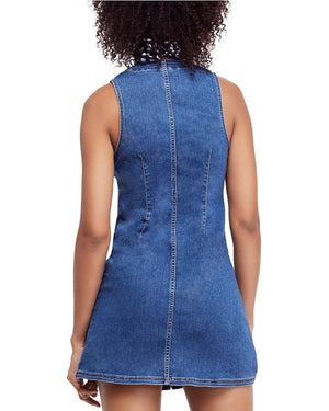 free people - wandering star denim mini - blue