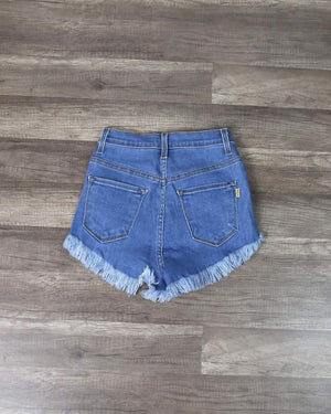 High Waisted Distressed Jean Shorts In Medium Wash
