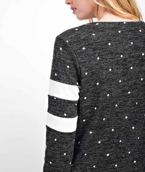 another day polka dot knit top - charcoal