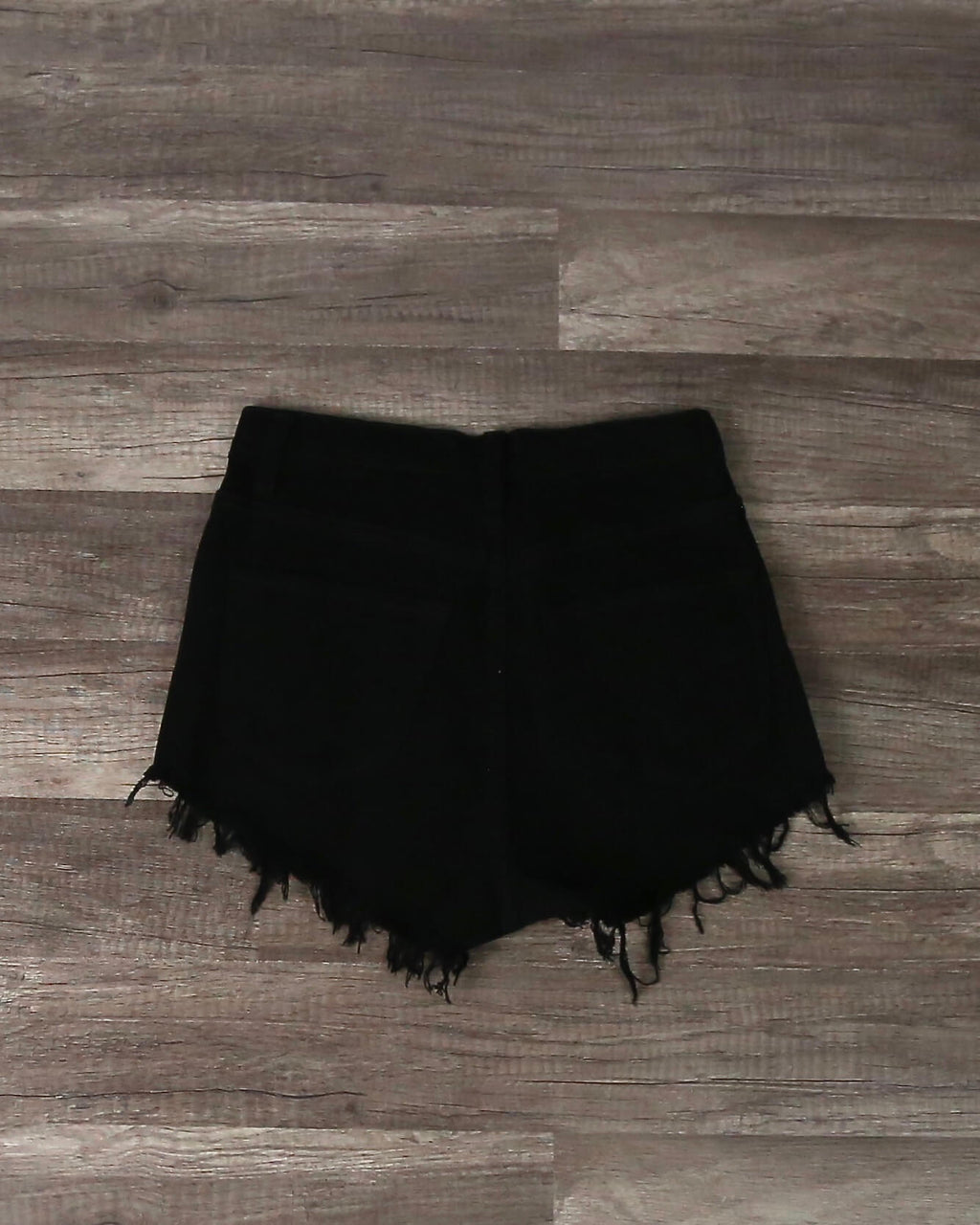 Distressed Button Down Shorts in Black