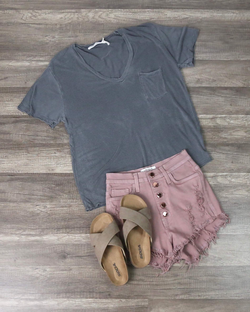 Distressed Button Down Shorts in Pink
