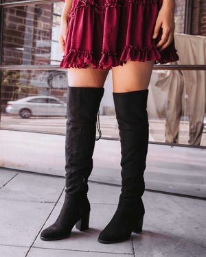 Aspire Lace-Up Over The Knee Boot - Black