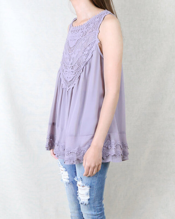 Angel Sleeveless Lace Flowy Top -  More Colors