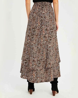 Animal Print Asymmetrical High Low Skirt