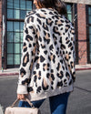 Animal Print Front Pocketed Open Front Knit Cardigan in Taupe