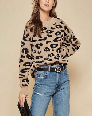 Animal Print Oversized Pullover Sweater