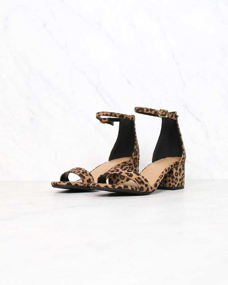 Animal Print Single Band Ankle Strap Chunky Block Heeled Sandals in Cheetah