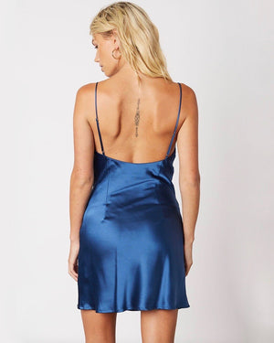Cotton Candy LA - Asymmetric Cowl Neck Satin Dress in Azure Blue