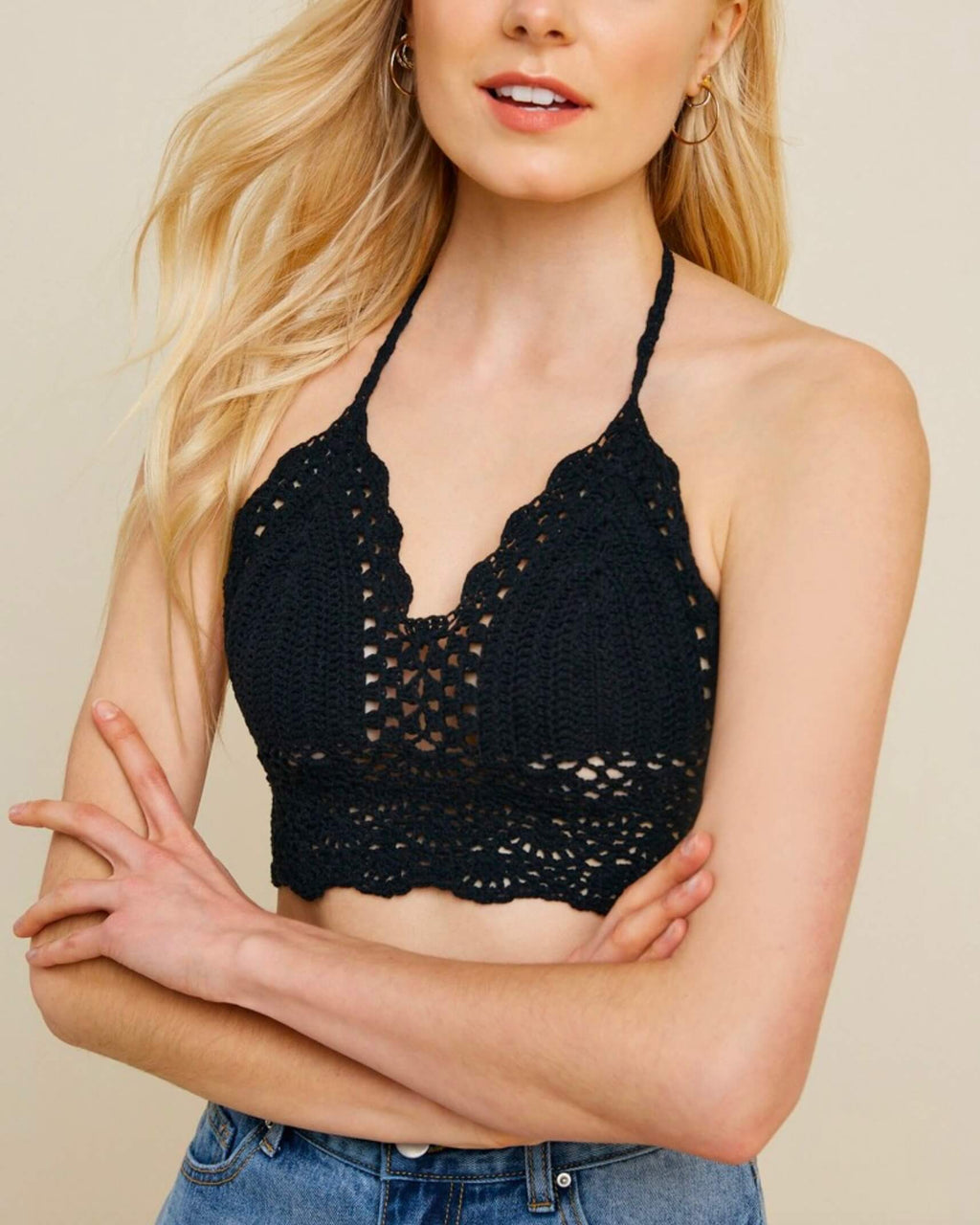 Just Talk Halter Crochet Bralette in Black