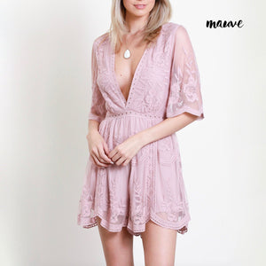 as you wish wild honey honey punch SHORT SLEEVE EMBROIDERED DEEP V LACE ROMPER MAUVE