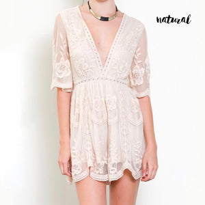 as you wish wild honey honey punch SHORT SLEEVE EMBROIDERED DEEP V LACE ROMPER NATURAL