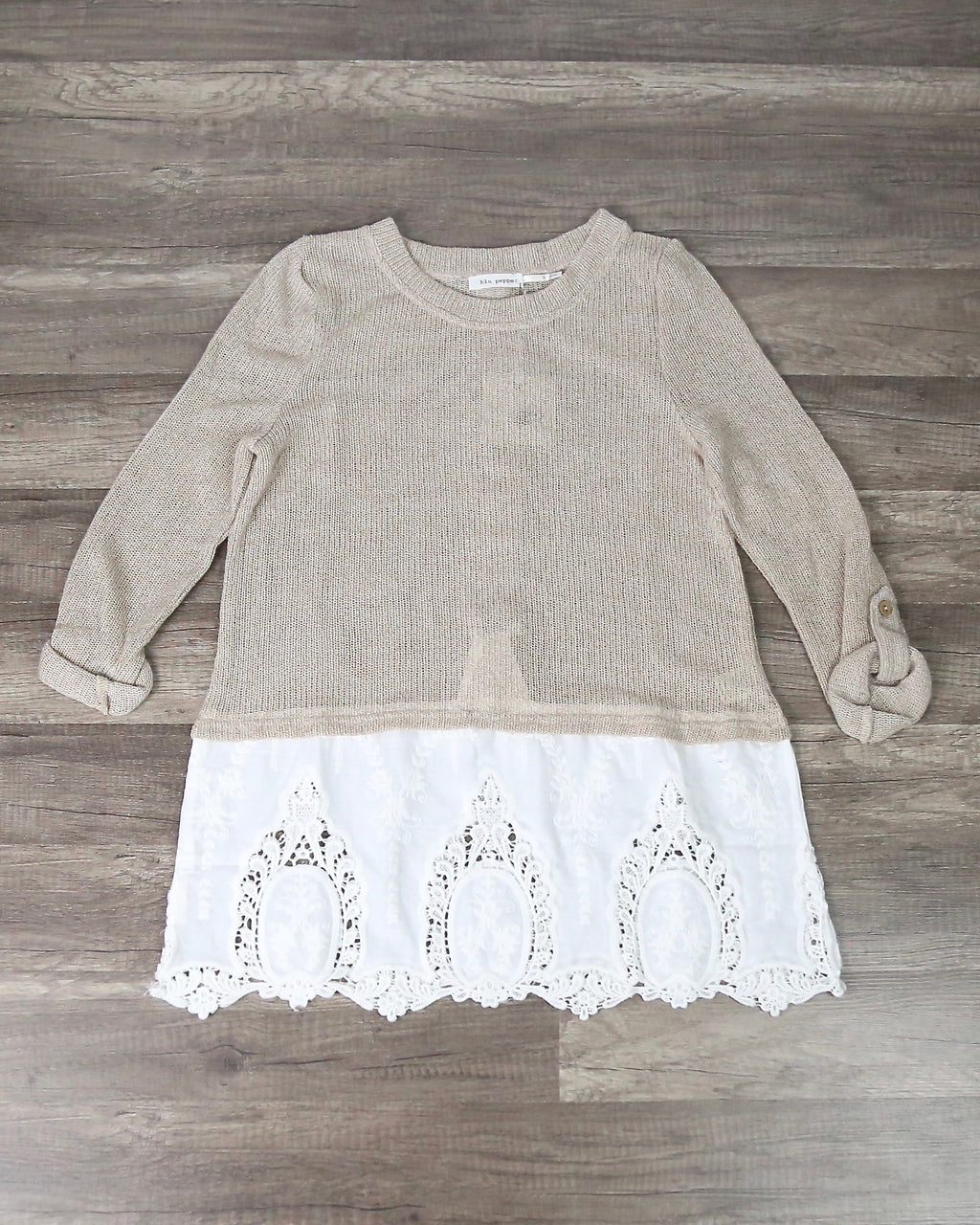 Knit Sweater With Embroidered Lace Hem in Natural