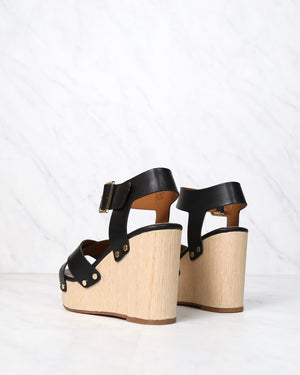 Final Sale - Bc Footwear - Teeny Vegan Wedge Sandals - Black