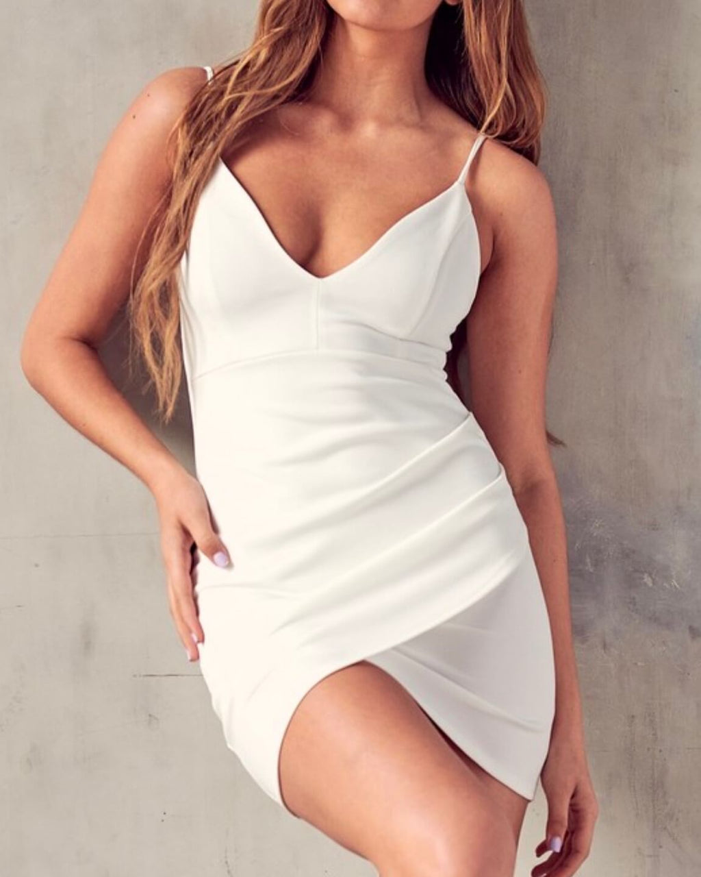 Girls' Night Out Deep V-Neck Wrap Dress in Ivory