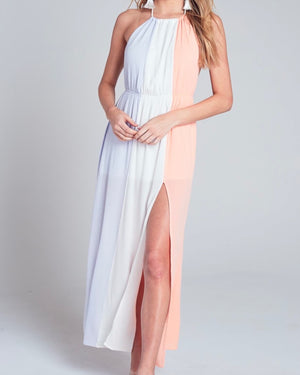 Brittney Halterneck Maxi Dress With Leg Slit in Ivory Multi