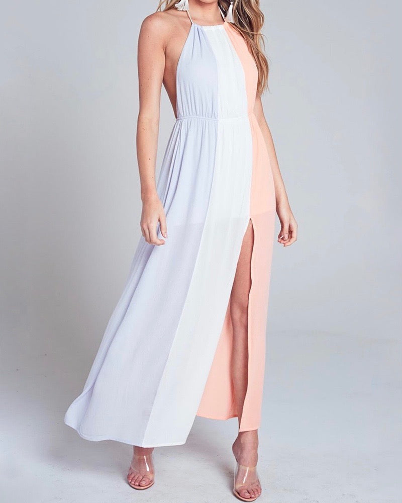 Final Sale - Blue Blush Halterneck Maxi Dress With Leg Slit in Ivory Multi