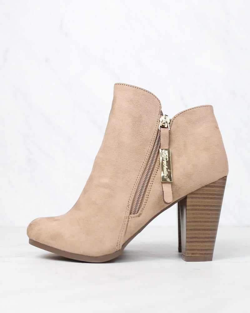 release info on super cute uk availability almond toe stacked heel vegan suede booties Breckelle's gina-31 ...