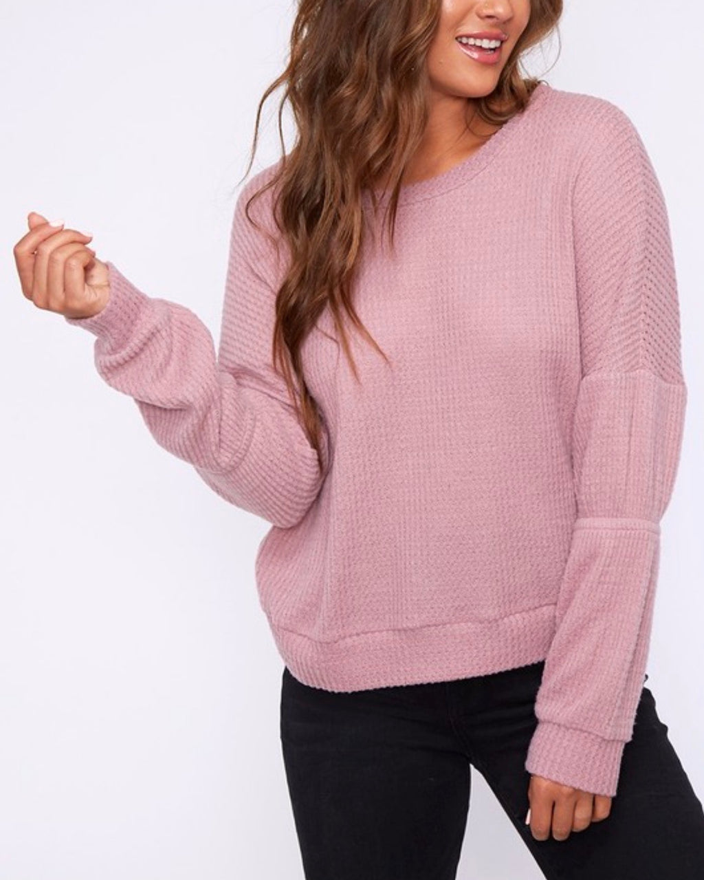 Final Sale - Basic Solid Waffle Knit Top - Dark Blush