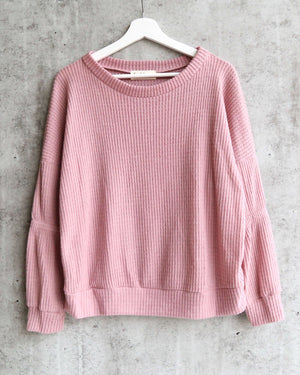 Basic Solid Waffle Knit Top - Dark Blush