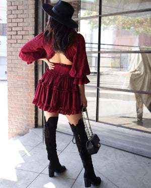 Bell Sleeve Cut Out Ruffled V-Neck Dress in More Colors
