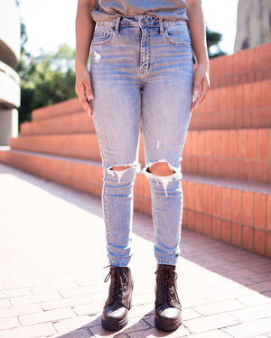 Bella Super High Rise Ripped Light Wash Skinny Jeans
