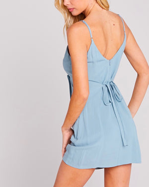 Belle V-Neck Buttoned Side Dress - SEAFOAM