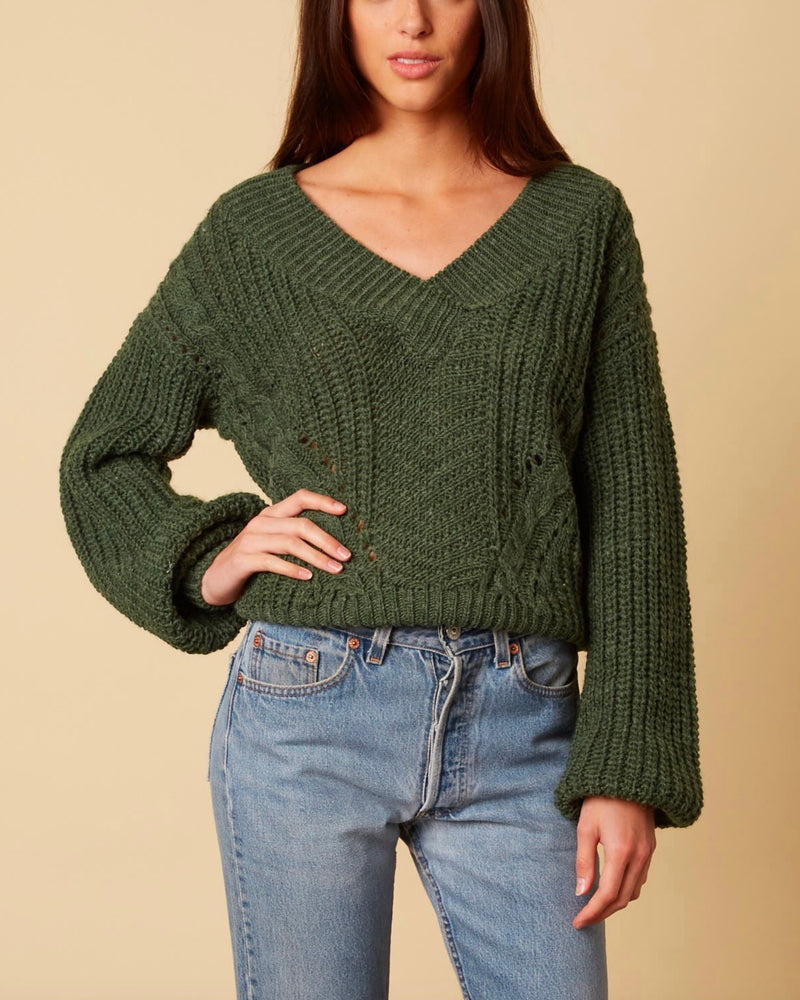 Better Now - Ribbed Trim Bishop Sleeve Sweater - Forest Green