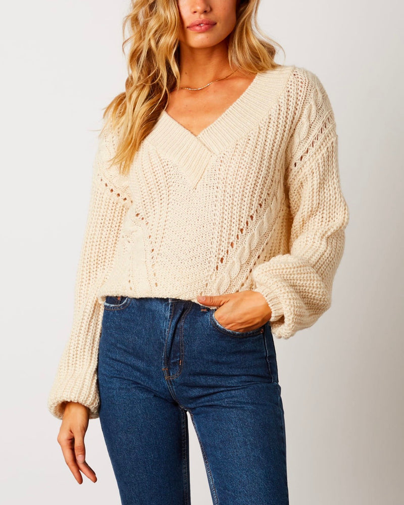 Final Sale - Better Now - Ribbed Trim Bishop Sleeve Sweater - Ivory