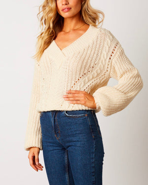 Better Now - Ribbed Trim Bishop Sleeve Sweater - Ivory