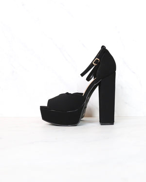Black Nubuck Suede Ankle Strap High Heel Sandals