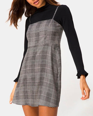 Motel Boyasly Mini Dress in Charles Check Grey