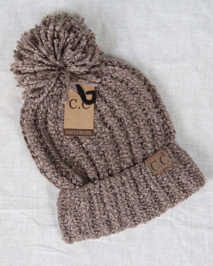 C.C. Beanies - Chenille Pom Soft Knit Winter Hat in More Colors